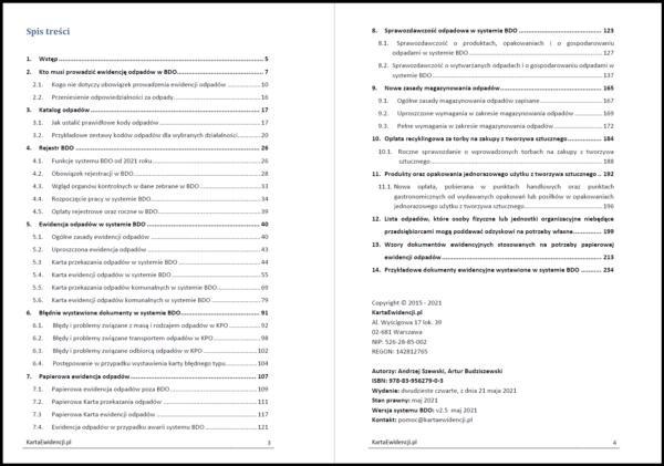 Spis treści poradnik BDO 2021